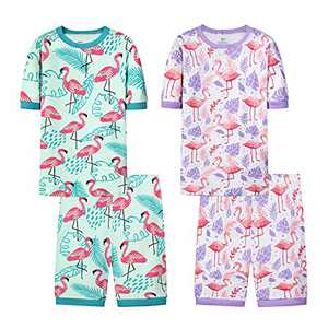 Joyond Cotton Pajamas for Girls Cute Kids Toddler Clothes Kids Snug-Fit Pjs Pants Set(flamingo,2T)