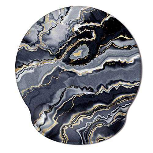 HAOCOO Gel Mouse Pad with Wrist Support,Ergonomic Mouse Pads with Non-Slip Backing Memory Foam Filled, Easy Typing &Pain Relief for Home Office Computer Laptop(Black&Gray Marble)