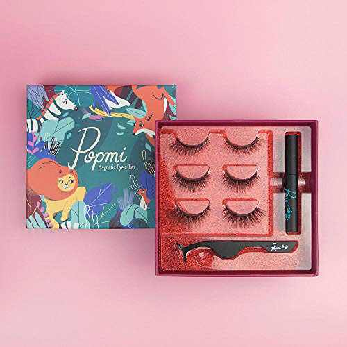 Luxury Reusable Magnetic Eyelashes and Eyeliner Kits in Gift Box, Including 3 Pair Muti Styles Lashes with Eyeliner and Tweezer - Easy to Wear and Waterproof, Natural Look, by Popmi