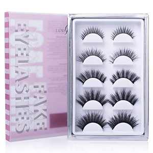 Lovefun False Lashes Variety Pack Of 5, Reusable Handmade Fake Eyelashes from Natural Look to 3d Dramatic Look, LF0X