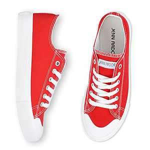 JENN ARDOR Canvas Sneaker Shoes for Women Casual Shoes Low Tops Sneakers Walking Shoes RED
