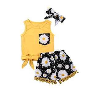 Toddler Girls Short Set Little Kids Summer Outfit Sleeveless Vest Tops Floral Tassel Shorts Pants 2PCS 1-6T (Yellow (Black Flower Shorts), 3-4T)