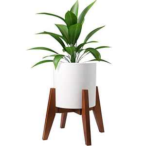 HOKEMP Plant Stand Mid Century Wood - Adjustable Width Flower Pot Holder, Fits Medium & Large Pots Sizes 8 9 10 11 12 inches (Pot Not Included) (Brown)