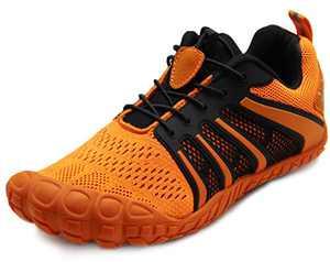 Oranginer Men's Workout Shoes Wide Toe Box Barefoot Sports Hiking Bike Training Shoes Unisex Orange Men Size 10 Women Size 11
