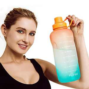 Half Gallon/64 oz Motivational Water Bottle with Time Marker Reminder & Straw, Leak-proof No BPA Hydration Sports Daily Water Bottle Jug for Fitness Gym Outdoor Sports Activity (Orange Green Gradient)