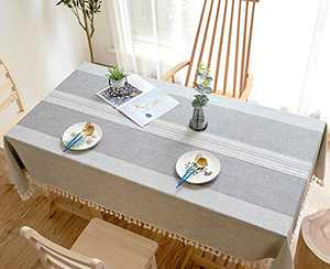Suprehomeus Table Cloth Rectangle Cloths Round Wrinkle Free Tablecloth Cotton Linen Tablecloths Stitching Tassel Brown for Kitchen, Outdoor Table(55 x 94 Inches,Gray), Gray-55x Inch, SU-9203512-US