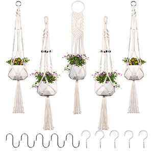 Aisto 5 Pack Macrame Plant Hanger with Hooks Set Cotton Rope Hanging Plant Holder Indoor & Outdoor Decor Bundle with Ceiling Hooks & S Hooks