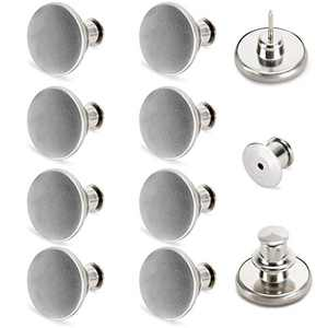 [Upgraded] 8 Sets Button Pins for Jeans No Sew TOOVREN Jean Pants Button Pins Replacement Adjustable Jean Button Pins Clips Snap Tack, No Tools Require Extend or Reduce Pants Waist Size- Silver