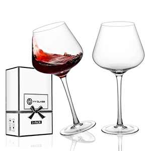 Gifts for Women - Premium Selected Handmade Burgundy Breathing Wine Glasses with Gift Pack, 22 Ounce - Set of 2 - Lead-Free Crystal Large Wine Glass with Long Stem for Red or White Wine