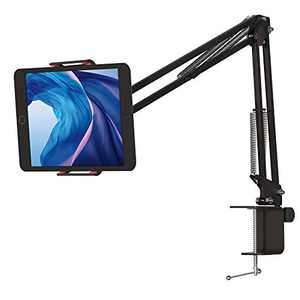 Tablet Stand with Long Arm Adjustable Mount Holder Overhead Video Stand for Bed,Table/Desk,Compatible with 4.7-7 inch Tablet PC,Holder Mount Flexible 360° Rotation, Black