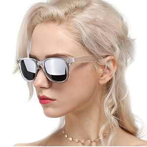 Myiaur Classic Sunglasses for Women Polarized Driving Anti-Glare 100% UV Protection (Transparent Frame/ Silver Mirrored Polarized Lens)