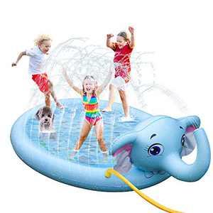 "SuSenGo Splash Pads Sprinkler Mat for Kids Toddler, Large Size 82"" Sprinkler Kids Pool Baby Summer Toys Outside Water Blob Toys (Elephant)"