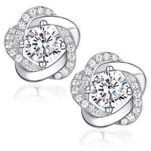 CRYS Cubic Zirconia Stud Earrings for Women 925 Sterling Silver Post Simulated Diamond Rose Flower Hypoallergenic Sensitive Earring Cuff Dainty Jewelry Gifts Mom Wife friend Birthday Valentine's
