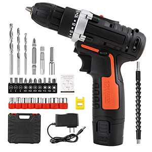 Cordless Drill Driver Kit 12V with 26 Accessories & Tool Case, Power Drill Electric Screwdriver 15+1 Clutch Upto 1200RPM with Variable 2-Speed Rechargeable Lithium-ion Battery