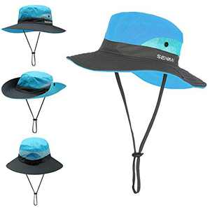 TMEOG Fishing Hats for Women Wide Brim Outdoor UV Protection Foldable Mesh Beach Sun Hat Fishing Cap Designed for Summer, Pool,Hiking, Camping, Travel,Beach (Blue)