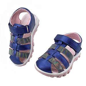 Skywheel Girls PU Leather Princess Sandals Toddler Lightweight Closed Toe Anti Slip Flat Summer Dress Shoes(Navy blue,Size 7)