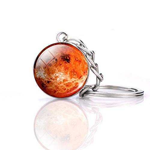 JWPavilion Solar System Planet keychain Accessories Pendant Glow In The Dark Galaxy Crystal Glass Ball Key Chain Rings Creative Gift For Women Men Charms Luminous Globe Llaveros Keyring(Venus)
