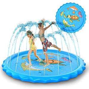 "Homdas Splash Pad and Sprinkler for Kids, 68"" Newest Water Play Splash Mat Inflatable Kids Sprinkler and Splash Play Mat Outside Water Toys Swimming Pool for Toddlers Babies Boys Girls"