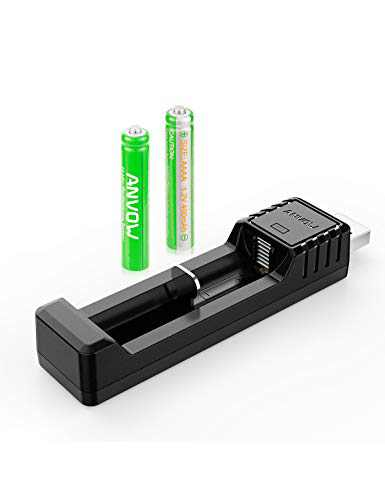 Rechargeable AAAA Batteries, ANVOW AAAA Batteries for Surface Pen Active Stylus, Ni-MH 1.2V 400mAh AAAA Battery and CP-C-001 Smart Charger Included