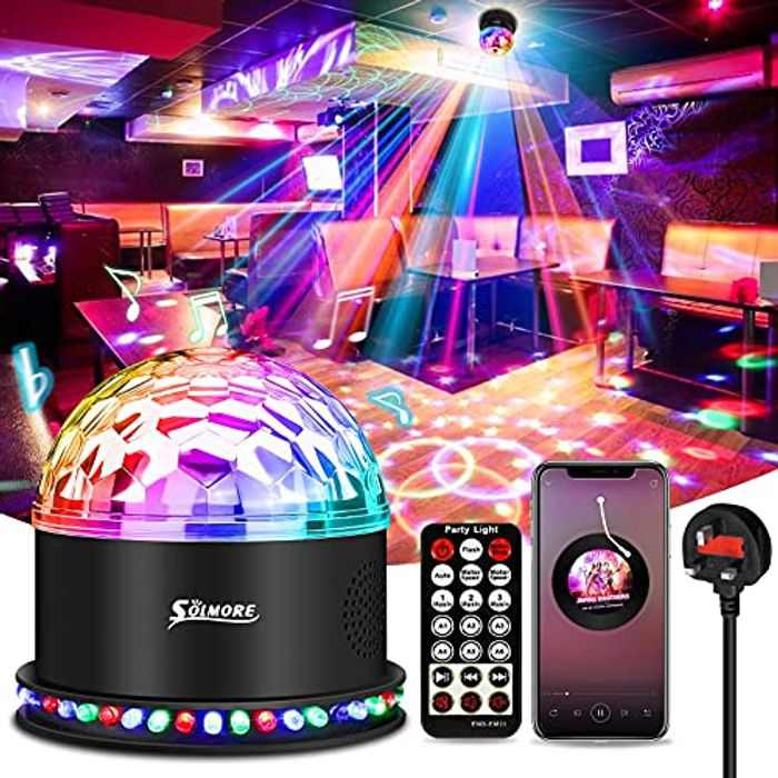 Disco Lights, SOLMORE 54 LEDs Disco Ball Lights with Music Player, 5W RGB Party Stage Lights Sound Activated Automatic Strobe lights with Remote Control for Kids Birthday Festival Party Bar UK Plug