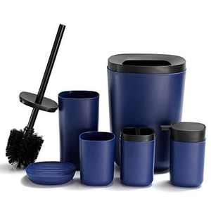 DUFU Bathroom Accessory Set 6 Pcs Plastic with Toothbrush Holder Tooth Mug/Plastic Cup Soap Dish Lotion Bottles Toilet Brush Trash Can/Rubbish Bin (Blue)