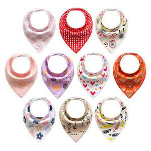 Baby Bandana Drool Bibs for Boys, Girls, Baby Unisex Cotton Bibs 10 Pack Soft and Absorbent (Floral Hoop)