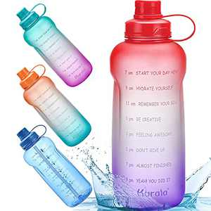 Half Gallon/64 oz Motivational Water Bottle with Time Marker Reminder & Straw, Leak-proof No BPA Hydration Sports Daily Water Bottle Jug for Fitness Gym Outdoor Sports Activity (Red Purple Gradient)