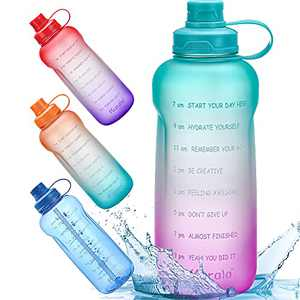 Half Gallon/64 oz Motivational Water Bottle with Time Marker Reminder & Straw, Leak-proof No BPA Hydration Sports Daily Water Bottle Jug for Fitness Gym Outdoor Sports Activity (Green Purple Gradient)