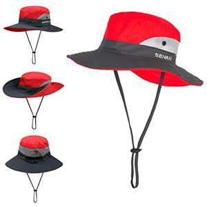 TMEOG Fishing Hats for Women Wide Brim Outdoor UV Protection Foldable Mesh Beach Sun Hat Fishing Cap Designed for Summer, Pool,Hiking, Camping, Travel,Beach (Red)