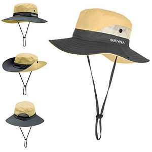 TMEOG Fishing Hats for Women Wide Brim Outdoor UV Protection Foldable Mesh Beach Sun Hat Fishing Cap Designed for Summer, Pool,Hiking, Camping, Travel,Beach (Khaki)