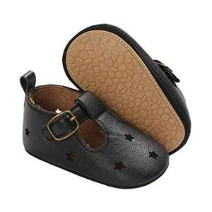 TMEOG Baby Soft Rubber Sole PU Leather Shoes Toddler First Walkers Infant Newborn Baby Dresses Casual Shoes Seasons (A - Black, 12_Months)