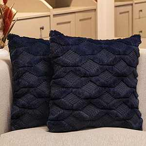 Aisto Throw Pillow Covers 18 x 18 Inch Navy Boho Short Wool Decorative Pillow Covers for Couch/Sofa/Bed 2 Pack