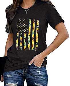 Women's American Flag Sunflower Tanks Tops Sleeveless 4th of July Patriotic Graphic Tees Vest (Black-01, Medium)