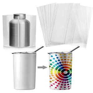 Sublimation Shrink Wrap Films 100 Pieces Transparent Heat Transfer Shrink Films Shrink Wrap Bags Shrink Wrap Sheets for Mug Water Bottle Tumblers Blanks Sublimation (Transparent,8 x 8 Inch)