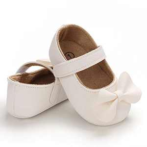 TMEOG Baby Soft Rubber Sole PU Leather Shoes Toddler First Walkers Infant Newborn Baby Dresses Casual Shoes Seasons (C- White, 12_Months)
