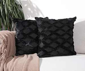 Aisto Throw Pillow Covers 18 x 18 Inch Black Boho Short Wool Decorative Pillow Covers for Couch/Sofa/Bed 2 Pack