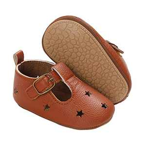 TMEOG Baby Soft Rubber Sole PU Leather Shoes Toddler First Walkers Infant Newborn Baby Dresses Casual Shoes Seasons (A - Brown, 6_Months)