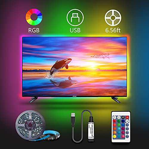 LED TV Backlight, 6.56ft RGB Led Strip Lights for 40-60in TV, USB Powered TV Lights kit with 24Key Remote for Room Decor