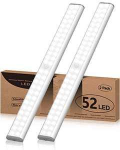 Under Cabinet Lights Battery Operated 52 LED Closet Light, Motion Sensor Light with 1500mAh Rechargeable Battery 6500K Wireless Stick Up Night Safe Light for Kitchen, Wardrobe, White(2 Packs)