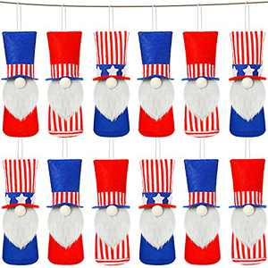 12 Pieces Independence Day Gnome Ornament Patriotic Gnome Plush Pendant American Gnome Hanging Decoration for 4th of July, USA Gnome Plush Doll with Rope, Independence Day Party Supplies