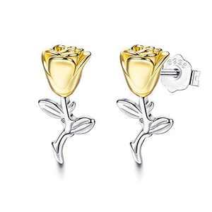 Sllaiss925 Sterling Silver Rose Earrings White Gold Plated Flower Stud Earrings Sterling Silver Jewelry Gift for Women