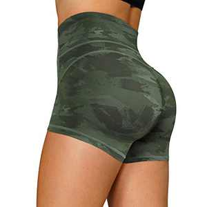 RACELO Yoga Shorts for Women High Waist Tummy Control Workout Running Biker Hiking Athletic Stretch Exercise Shorts (Green, 3XL)