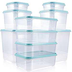 Fresh Friend 10 Pack Food Storage Containers with Blue Lids Airtight, Dishwasher Microwave Safe Plastic Lunch Containers BPA Free, Stackable Kitchen Freezer Containers for Food