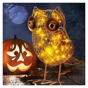 Metal Owl Decorations Solar Lights - Outdoor Owl Statues for Garden Yard Art Decor, 9.84 x 7.08 Inch
