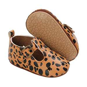 TMEOG Baby Soft Rubber Sole PU Leather Shoes Toddler First Walkers Infant Newborn Baby Dresses Casual Shoes Seasons (A - Leopard, 6_Months)