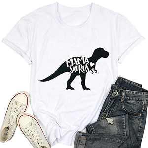T&Twenties Mama Dinosaur Shirt Cute Mama Saurus Shirts for Women Casual Mom Dinosaur Mama Saurus Graphic Tee Shirt White