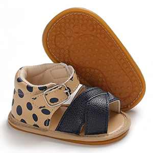 Baby Sandals, TMEOG Toddler Boys Girls Sandals Rubber Sole Soft Anti-Slip First Walkers Infant Summer Shoes (A- Leopard, 0_months)