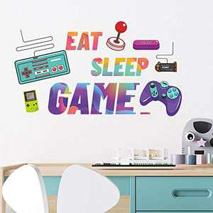 Supzone Game Console Wall Sticker Cartoon Video Game Wall Decals Eat Sleep Game Wall Decor Colorful Gamepad Wall Art for Adults and Kids DIY Vinyl Mural Sticker for Bedroom Playroom Home Decoration