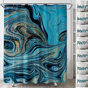 LEMOISTARS Abstract Fabric Shower Curtain Ombre Ink Art Marble Painting Bathroom Shower Curtain Machine Washable Waterproof Heavy Weighted Bath Curtains with 12 Hooks 60x72''