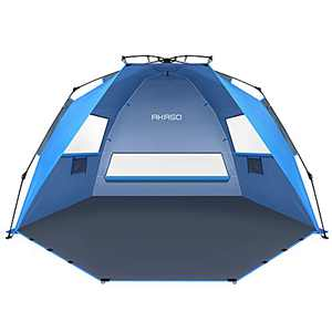 AKASO Pop Up Beach Tent for 3-4 Person, X-Large Portable Beach Shade Sun Shelter with UPF 50+ UV Protection, 3 Ventilation Windows & Extended Floor, Easy Setup Family Beach Shelter (Blue)